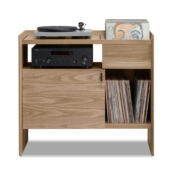 Unison Record Stand with Vinyl Storage in Toffee