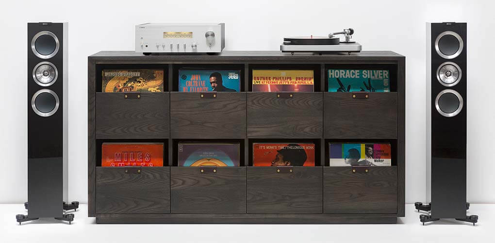 Dovetail Vinyl 2X4 Storage Cabinet in dark theme able to hold 720 LPs in flip-style storage and ample tabletop space for a turntable, speaker system, or audio network receiver.