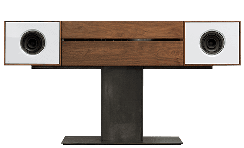 Modern Record Stereo Console with 300W of subwoofer power. Crafted with premium North American hardwoods. Features full-range Alnico drivers and an integrated HiFi turntable.