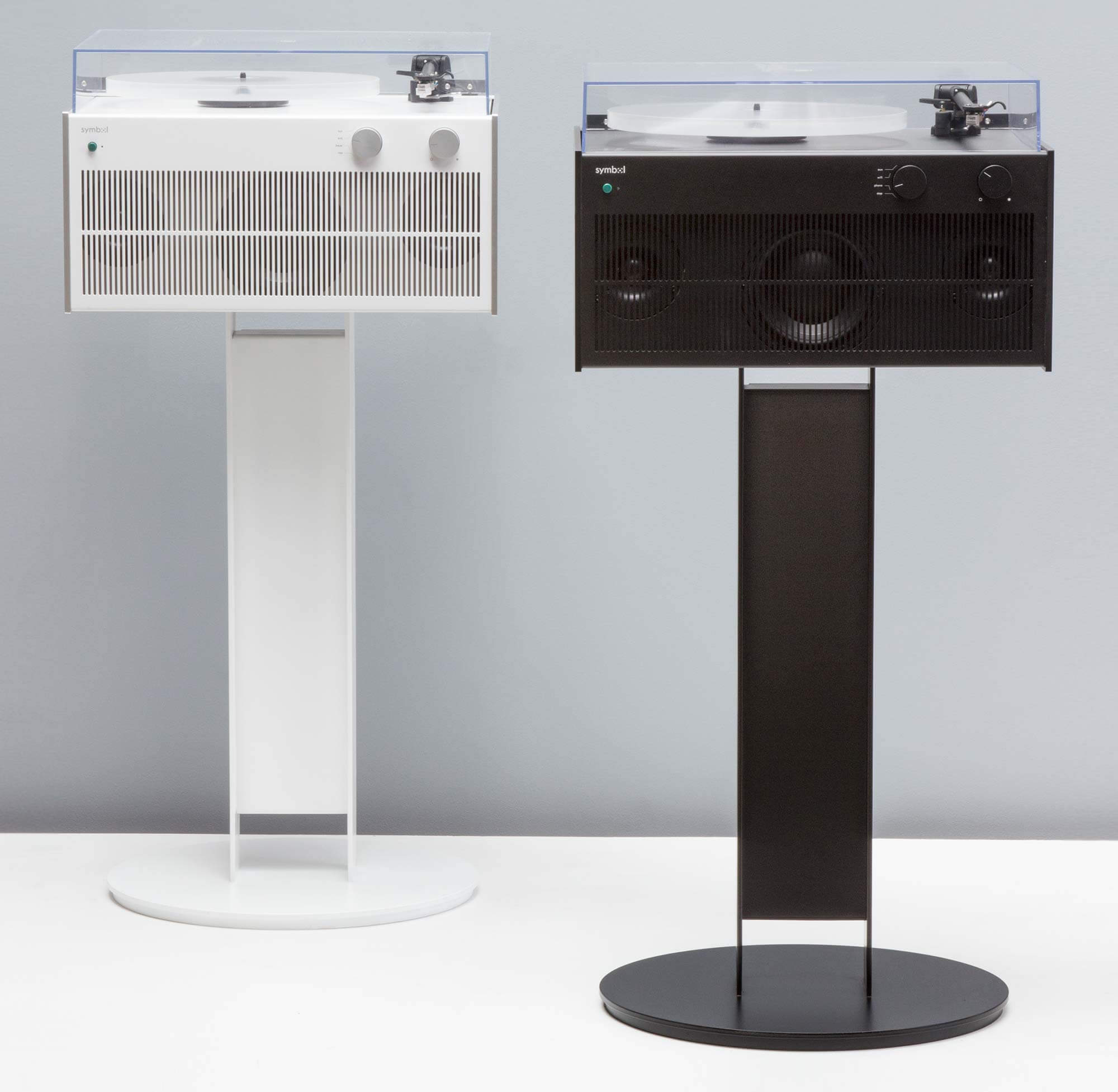 Modern Record Players (black and white themed) with custom-built class-AB amplifiers and three-source selector switch for phono, auxiliary, or wireless use.