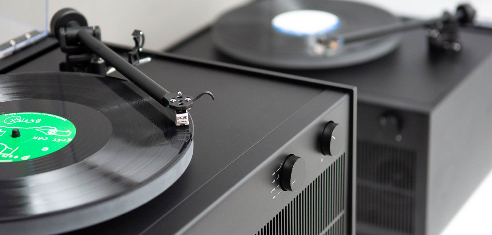 Modern Record Player With Speakers