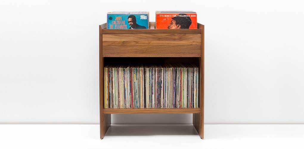 Unison Walnut Album Storage Cabinet in dark rich colored North American hardwood. Includes flip-style record storage and room for over 300 LPs.